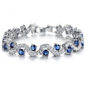 Sapphire Blue Crystal Link Tennis Bracelet