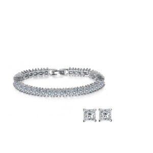 Princess-Cut Tennis Bracelet & Earrings