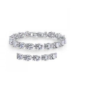 Heart Tennis Bracelet & Earrings