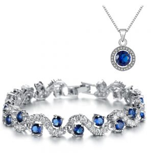 Sapphire Blue Crystal Tennis Bracelet & Pendant