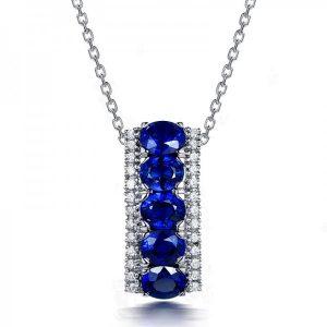Blue & Clear Crystal Drop Pendant Set