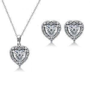 Crystal Heart Earring pendant & Crossover bangle