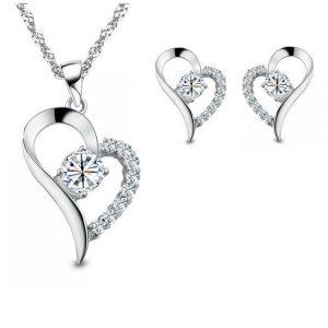 Overlay Crystal Accent Heart Pendant & Earrings