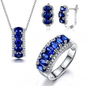 Sapphire Blue & Clear Crystal Plated Set