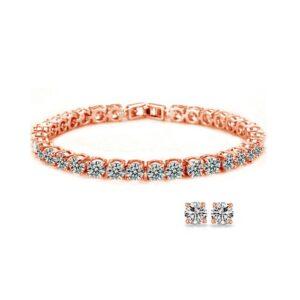 Round Tennis Bracelet & Earrings