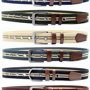 Unisex Striped Cotton Canvas Fabric Webbing Buckle Belt