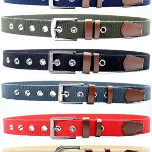 Plain Colours Unisex Cotton Canvas Fabric Webbing Buckle Belt