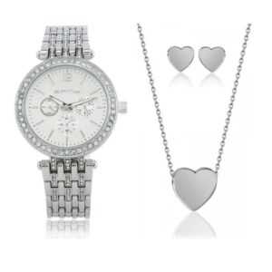 Crystal Bracelet Watch with Earrings & Pendant – 2 Colours