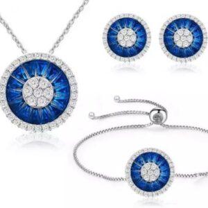 Gemstones inspired Halo Cluster Tri set