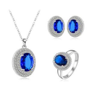 Oval Cut Halo Sapphire Blue Earring Pendant & Ring Set