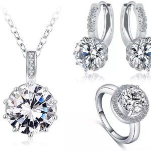 Round Halo Earrings Pendant and Ring Set