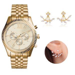 Boyfriend Chronograph watch with Double Earrings