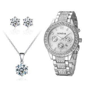 Crystal Date Watch with Solitaire Pendant & Earrings Set