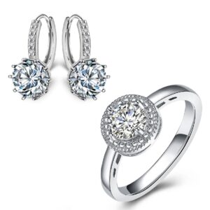 Halo Crystal Ring and Hoop Earrings