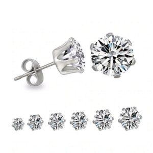 6 Pair Round Crystal Stud Earrings