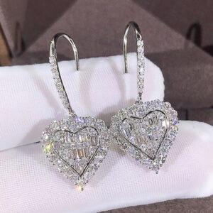 gemstone inspired Baguette White Crystal Heart Earrings