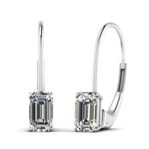 Emerald Cut Crystal Hoop Earrings