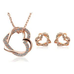 Double Heart Crystal Earring Pendant – 2 Colours