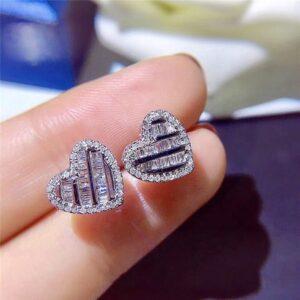 Halo Heart Shape Pave Emerald Cut Earrings