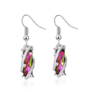 Handmade Multi-Coloured Crystal Drop Earrings