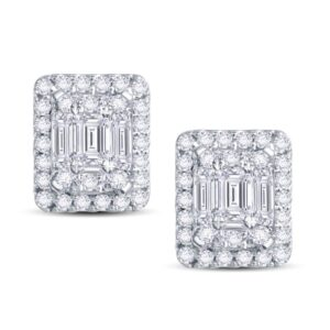 shimmering Iced Out Halo Stud Earrings