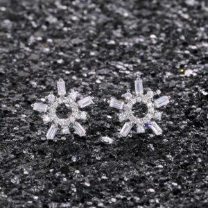 Baguette and Round-cut Snowflake Stud Earrings